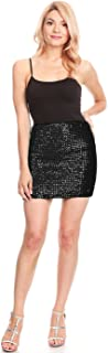 Womens Vegas Night Out Sleek Stretch Shiny Sequin Mini Pencil Skirt