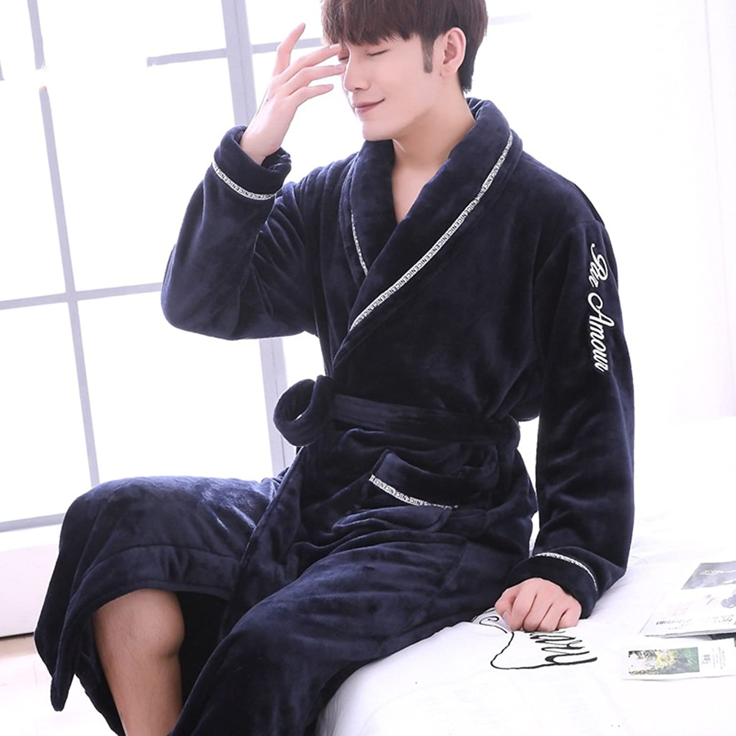 GJM Shop Male Autumn and Winter Thickening Polyester Nightgown Keep Warm Long Section Pajamas Bathrobe Robe (color   2, Size   XXL)