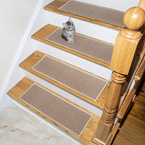 """Skid Resistant /& Washable Carpet Stair Treads Self-Adhesive /& Easy Installation Non-Slip Bullnose Carpet for Stairs Indoor Stair Pads 14- Pack Brown 10 x 30x 1.3/"""" Pet /& Child Friendly"""