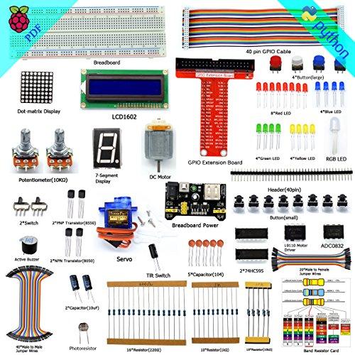 Adeept Super Starter Kit for Raspberry Pi 3, 2 Model B/B+, LCD1602, Servo, Motor, C and Python Code, Raspberry Pi Beginner/Starter Kit with PDF User Manual