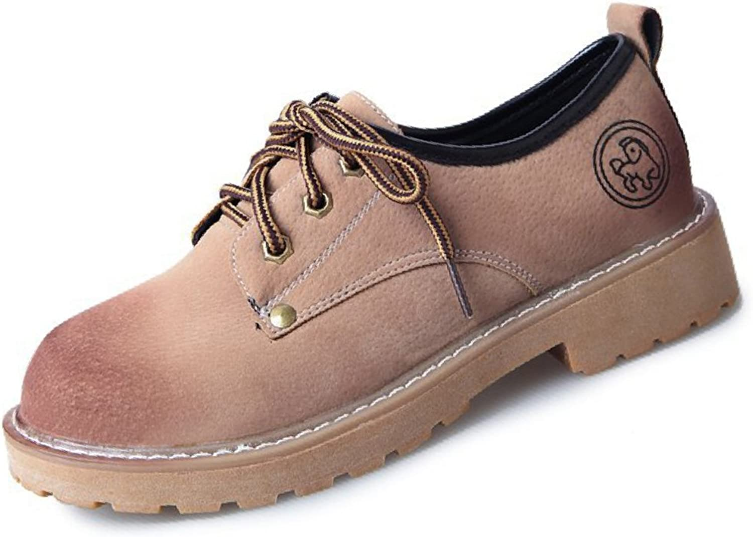 Btrada Women Retro Thick Heel Oxford shoes Round Toe Lace-Up Casual shoes