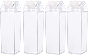 KYHSOM 4Pack Milk Carton Water Bottle - Clear Transparent Square Drinking Cups Leakproof Creative BPA Free Water Bottles for Home,Cafe,Office,Travel and Party (4pack)