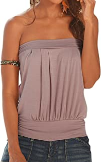 Femme Mesdames Plain Basic Summer Stretch Bandeau Boobtube Haut Tunique Mini Robe