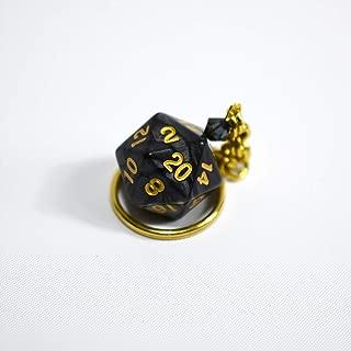 Twenty Sided Dice Keychain - Black and Gold