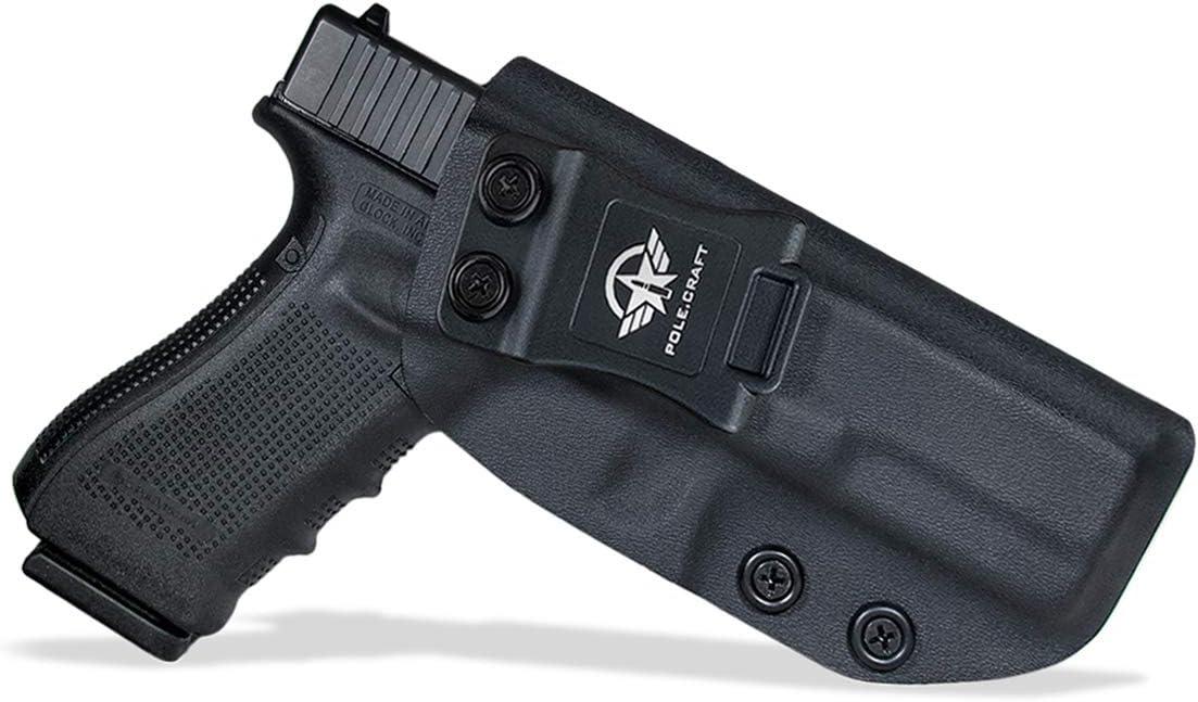 PoLe.Craft IWB Tactical KYDEX Gun Holster Custom Fits: Glock 17 22 31 Funda Pistola Case Inside Concealed Carry Holster Guns Accessories