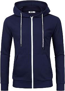 MrWonder Men's Casual Fit Long Sleeve Lightweight Zip Up Pullover Hoodie Sweatshirt with Kanga Pocket