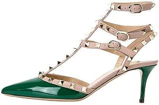 vocosi Women's Rivets Buckle Studded T-Strap Pointed-Toe Kitten Heels Fashion Sandals