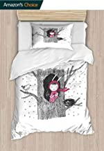 Tree Printed Quilt Cover and Pillowcase Set, Little in the Tree Hollow Holding a Heart Bird and Nest in Winter Snowfall, Bedding Set with Zipper Ties 1 Duvet Cover 1 Pillow Shams, 63 W x 82 L Inches