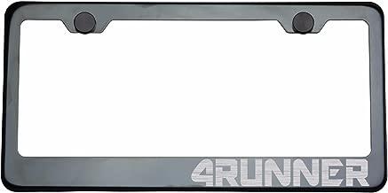 One Black Smoke Chrome Titanium Gun Metal T304 Stainless Steel License Plate Frame Holder Front Or Rear Bracket 4RUNNER Laser Engraved Etched Brush Silver Lettering with Aluminum Screw Cap