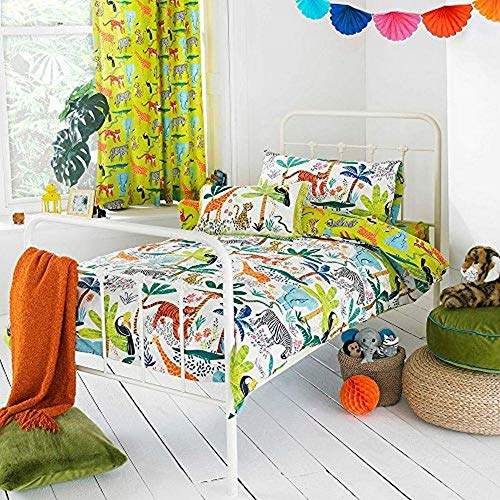 Riva Paoletti Kids Jungletastic Toddler Duvet Cover Set - Multicolour White - Reversible Jungle Animal Design - 1 X Pillowcase Included - Polycotton - Machine Washable - 120 X 150Cm (47' X 59' Inches)