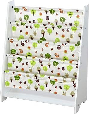 cobcob Baby Bookshelf, Children's Magazine Rack Bookcase Storage Shelf Unit Kids Bookshelves Organizer Wood & Canvas Bookshelf (White)