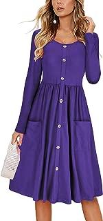 Women Casual Midi Dress Long Sleeve Shirt Dress Button Down Swing A Line Tunic Dress with Pockets