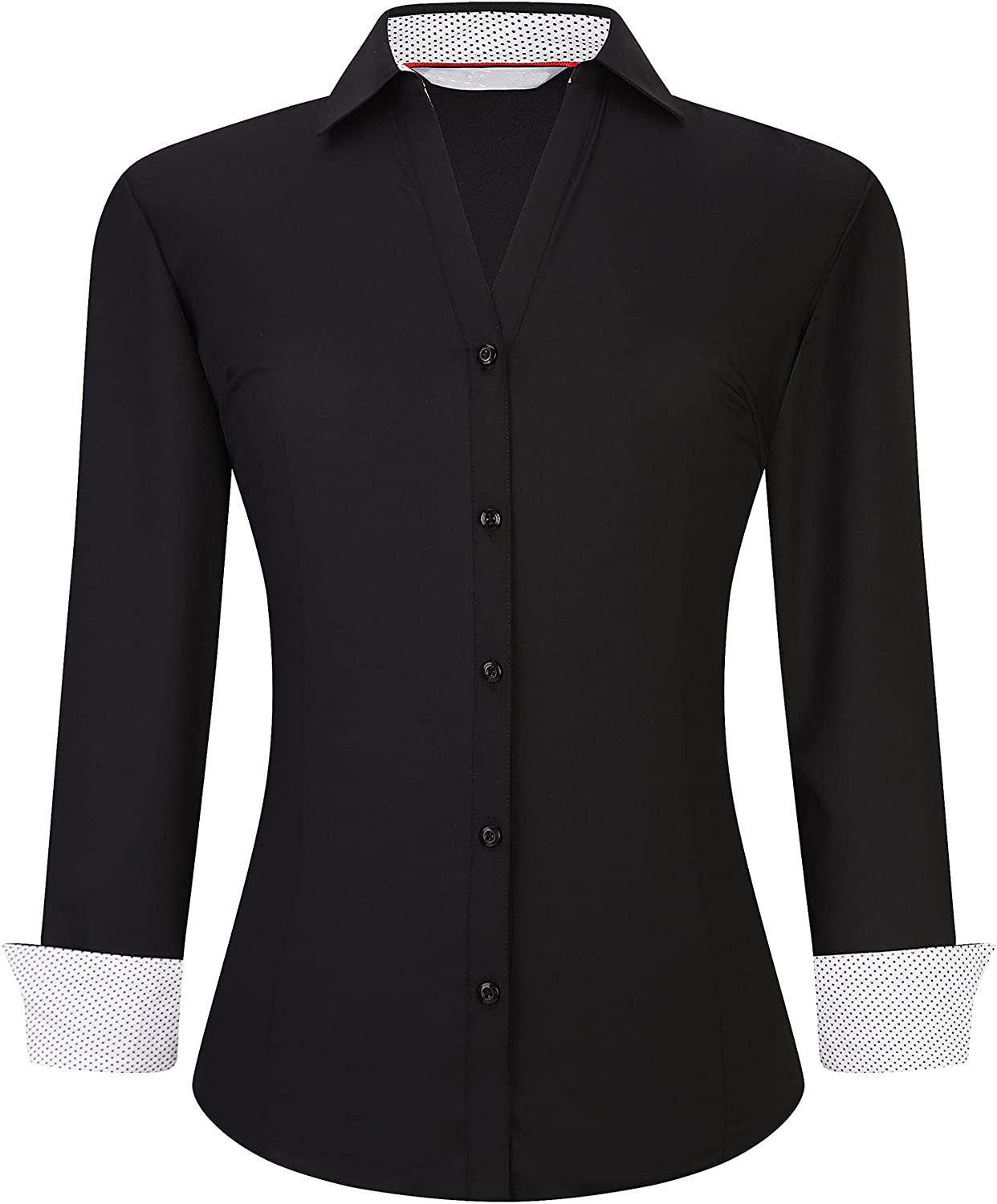 WARHORSEE Womens Button Down Shirt Long Sleeve Work Dress Shirts, V Neck Easy Care Stretchy Business Casual Blouses for Women