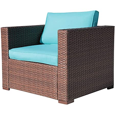 oc orange casual outdoor patio armchair sofa chair all weather wicker furniture with turquoise cushions additional chair for sectional sets garden