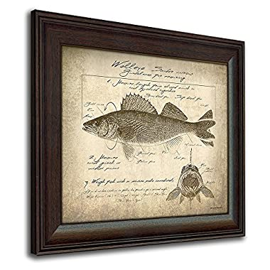 Personal Prints Walleye Vintage Fish Identification Scoring Print - 14in x 17in Framed Behind Glass