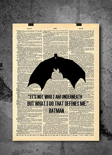 Batman Art - Who I Am Underneath Quote - Vintage Dictionary Print 8x10 inch Home Vintage Art Abstract Prints Wall Art for Home Decor Wall Decorations Ready-to-Frame