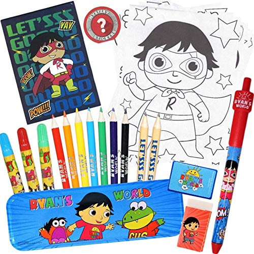 Ryan's World Mystery Art Box Set for Boys and Girls with Mystery Stickers | Includes Pencil Case, Pencils, Colored Pencils, Markers, Eraser, Sharpener, Notepad, Coloring Sheets Bundle