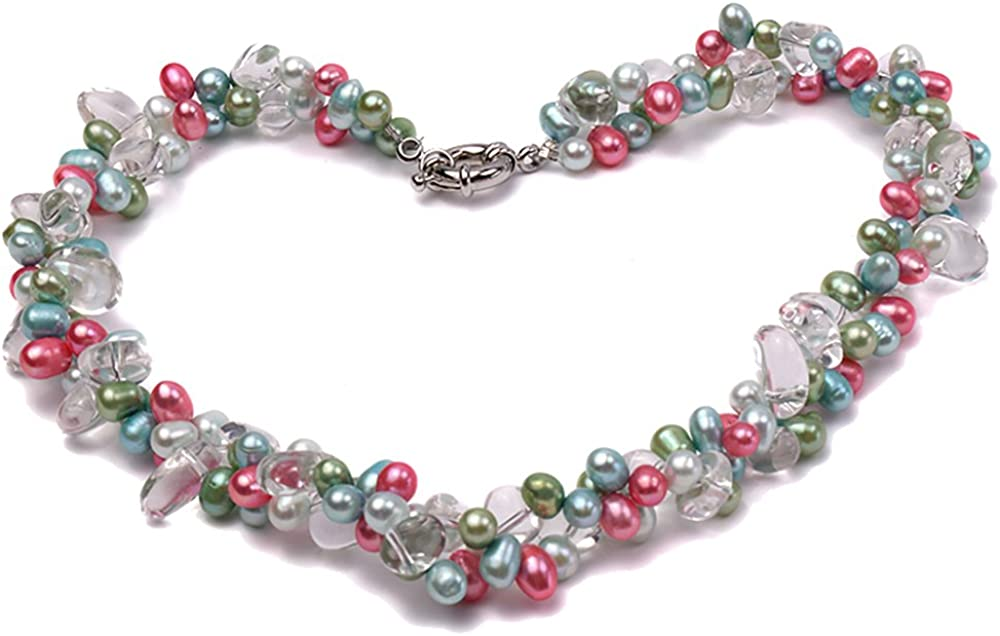 JYX Pearl Necklace for Women Two-Strand 7x12mm Multi-Color Freshwater Pearl and Baroque Rock Crystal Necklace 19