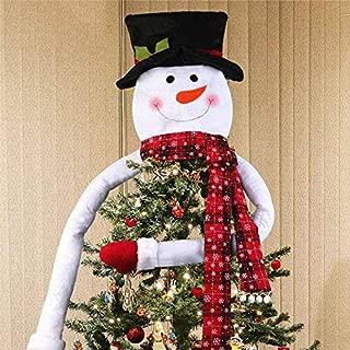 JWAKSJ Snowman Head Christmas Tree Topper Decoration Deer Santa Holiday Xmas Party Festive Hanging Ornament