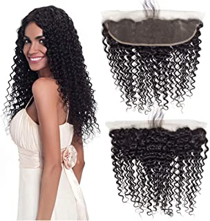 Best Ear To Ear 13x4 Full Lace Frontal Deep Wave With Baby Hair Unprocessed Brazilian Virgin Cheap Remy Real Human Hair 134 Top Front Closure Pre Plucked Natural Black Color Only One Piece 10 inches
