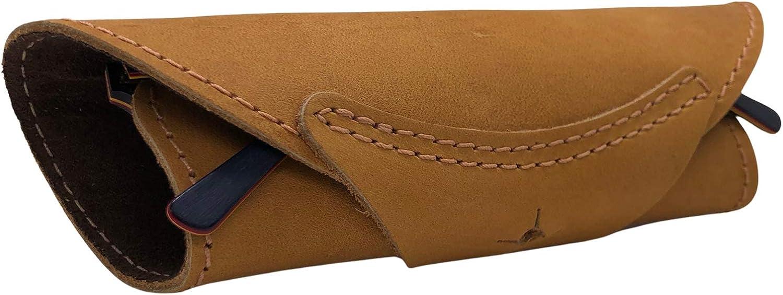 Leather Sunglasses Travel Case - Slim Wrap Roll Eyeglass Case Leather Cover for Men & Women Pocket Reading Glasses Case