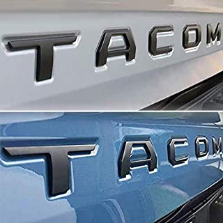 Auto Rover 3D Raised Tailgate Zinc Alloy Letters for Toyota Tacoma 2014-2019 Metal Inserts with 3M adhesive backing (Matte Black)