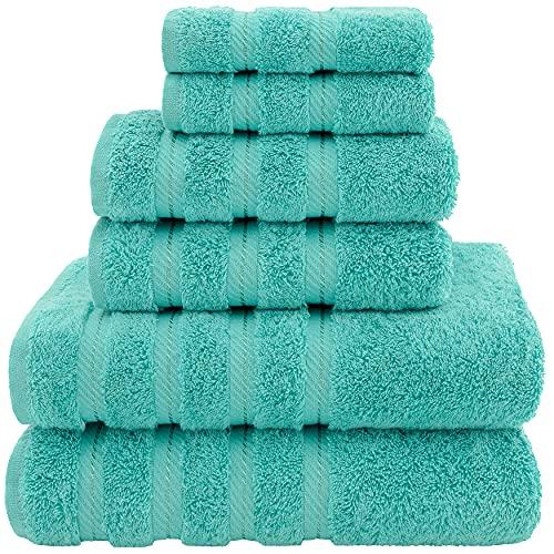 American Soft Linen 6-Piece 100% Turkish Genuine Cotton Premium & Luxury Towel Set for Bathroom & Kitchen, 2 Bath Towels, 2 Hand Towels & 2 Washcloths, Turquoise Blue [Worth $72.95] -
