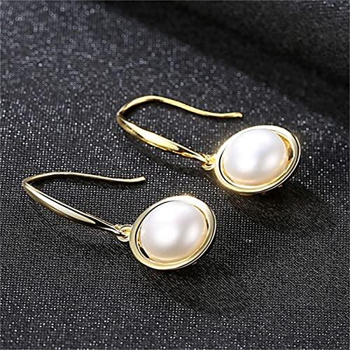 yuge 925 joyería de plata señoras boda perla pendientes gota negro blanco piedras preciosas oro moda regalo blanco