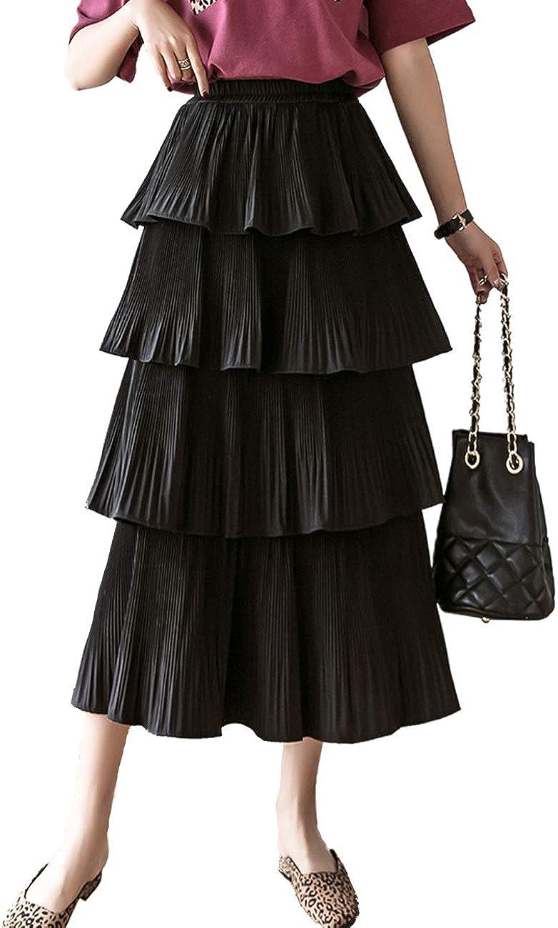 Femiserah Women's High Elastic Waisted Chiffon Layered Tiered Pleated Midi Long Skirt