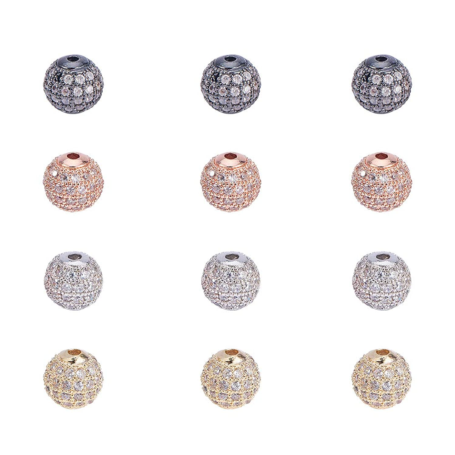 PandaHall Elite 12 Pcs 8mm Brass CZ Cubic Zirconia Pave Micro Setting Round Disco Ball Spacers Beads 4 Colors for Jewelry Making