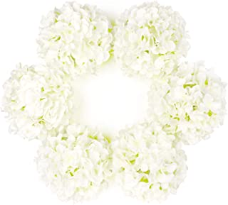 DuHouse Artificial Bigger Silk Hydrangea Flower Heads with Stem Fake White Hydrangea Flowers for Wedding Home Garden Centerpiece Pack of 6