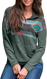 Women 1/4 Zip Pullover Camouflage Sweatshirt Color Block Shirts Casual Long Sleeve Blouse Top