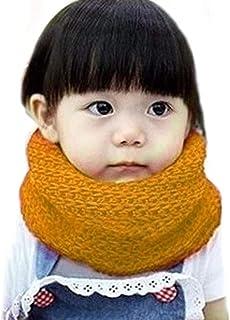 وشاح دافئ للبنات الصغار سميك محبوك دافئ وشاح إنفينيتي أزياء الأطفال الرضع الأولاد لينة إنفينيتي وشاح الرقبة - أصفر