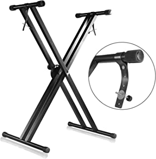 Mike Music Adjustable Double X Style Piano Keyboard Stand - Black (Double X Keyboard stand, black)