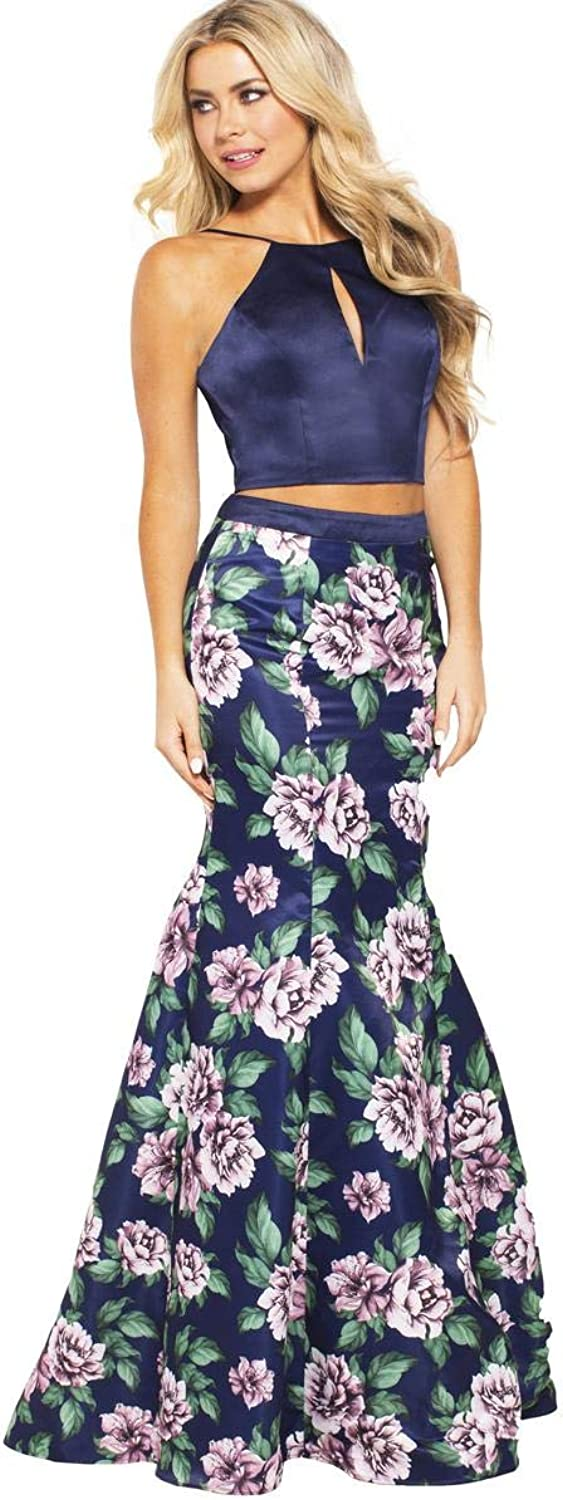 JVN by Jovani Womens 59138A Prom Two Piece Crop Top Dress