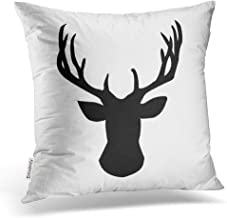 Accrocn Throw Pillow Covers Black And White Deer Head Buck Design Silhouette Pattren Cushion Decorative Pillowcases Polyester 18 x 18 Inch Square Pillowcase Hidden Zipper