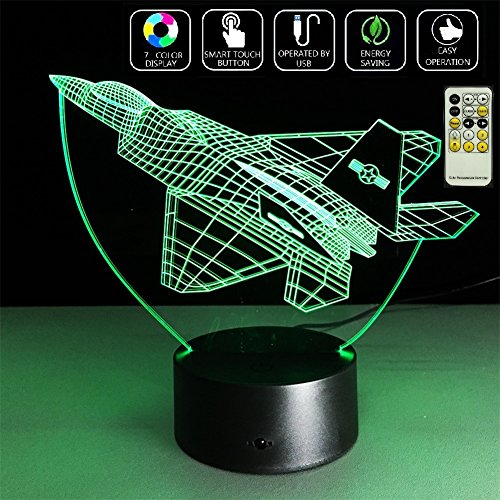 Deerbird LED 3D Fighter Plane Airplane Touch Switch Optical Illusion Remote Control Desk Table Lamp Night Light with 7 Colors Changing for Baby Kids Friends Festival Gift Party Décor