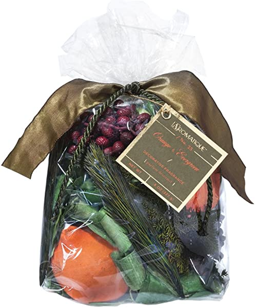 Aromatique Decorative Potpourri Bag Orange Evergreen 8oz Bag