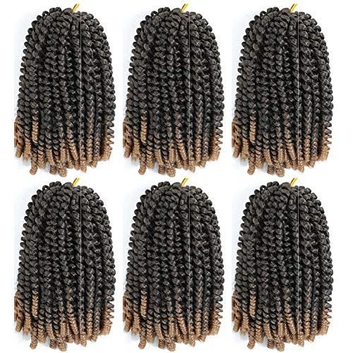 6 Pack Spring Twist Crochet Braiding Hair 8 Inch Bomb Twist Crochet Braids Ombre Colors Low Temperature Kanekalon Synthetic Fluffy Hair Extensions 15 Strands 55g/Pack (8inches, T1B-27)