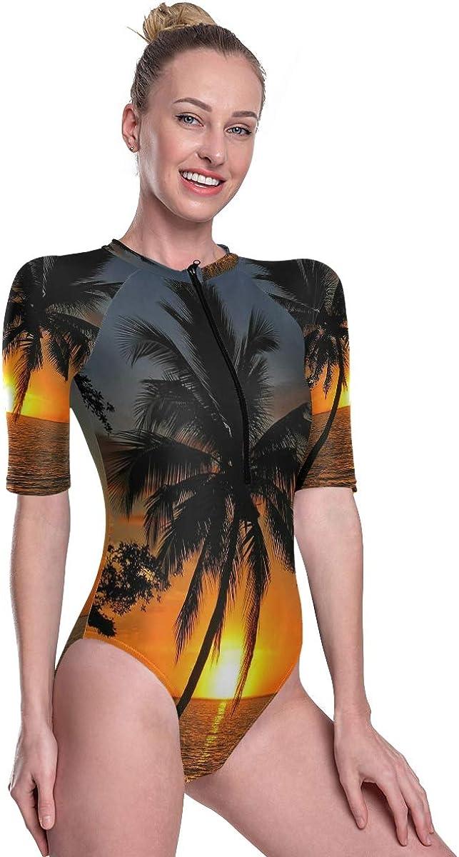 Womens Zip Up Printed Short Sleeve 1 Piece Rash Guard Swimsuit Sunset with Coconut Palm Tree Swimwear