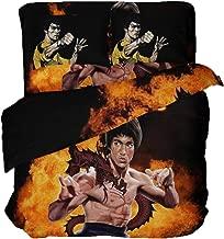 LanS Martial Arts Coach Bruce Lee Duvet Cover Bedding Set, Duvet Cover and Pillowcase, 3 Piece, 4 Piece Set Bedding (Duvet Cover + 2 Pillowcases) Twin Full Queen King Bed (Full-4PCS-200x229cm)