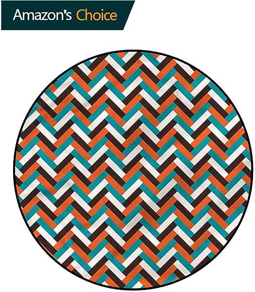 RUGSMAT 中世纪现代可水洗圆形浴垫复古人字纹设计防滑面料圆形地毯卧室直径 24