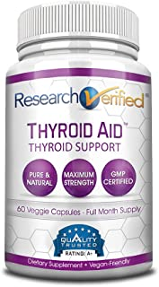 Research Verified Thyroid Aid - with Iodine, Vitamin B12, Selenium, Coleus Forskholii, Kelp, Ashwaghnada & More - 100% Pure, No Additives or Fillers - 100% Money Back Guarantee - 1 Month Supply