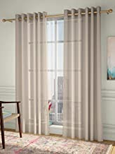 Curtain Label Set of 2- Curtain Label Vegas Linen Look Sheer Eyelet Pleat Curtain (Cream, 4.5 X 5 feet (W X H))