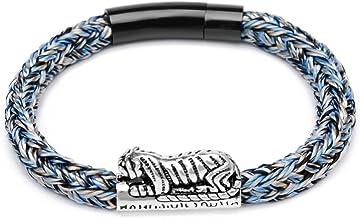 N/A Sieraden S925 Zilver Bijten Geld Tijger Outdoor Touw Gevlochten Armband Ping Een Caiyuan Mannen en Vrouwen Dragen Armb...