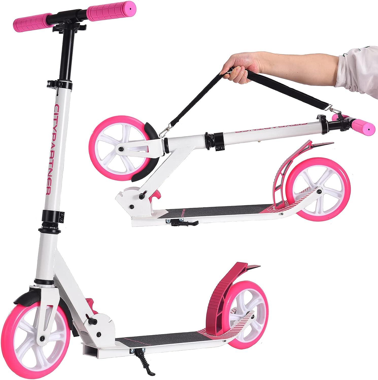 Patinete City Roller plegable y altura regulable para adultos, Big Wheel Scooter Cityroller con doble suspensión y correa de transporte, patinete para niños a partir de 12 años hasta 100 kg