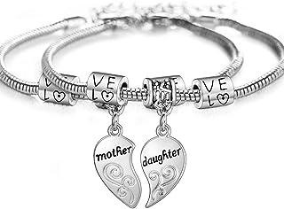 Mother Daughter Bracelet Set Sterling Silver Heart Bracelet Inspirational Gift For Mom Wish Bracelet Friendship Bracelet Mom Daughter