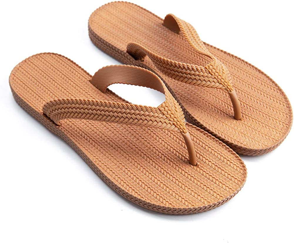 Flip Flop for Womens Summer Comfortable Beach Flats Sandals Slipper Non-Slip Home Shower Thong Shoes with Braided Strap