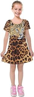 Toddler Girls Short Sleeve Soft Velvet Dress Fierce Jungle Animals Lion Face Theme, Size:2-16