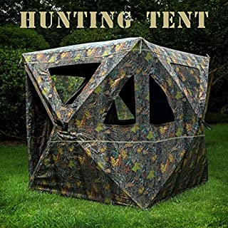 BenefitUSA 2-3 Person Camouflage Hunting Blind Ground Deer Archery Outhouse Camo Hunting Shooting Bowhunting Tent